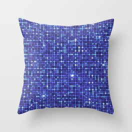 Shiny Disco Ball Blue Throw Pillow