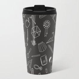 School pattern on black background Travel Mug