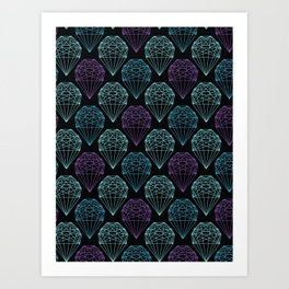 Geometrical crystal shape. Seamless repeating vector pattern Art Print