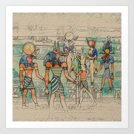 Egyptian Gods on canvas Art Print