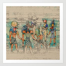 Egyptian Gods on canvas Art Print