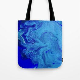 All the Blues, Abstract Fluid Acrylic Art Print Tote Bag