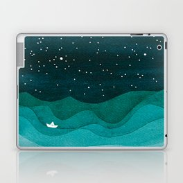Starry Ocean, teal sailboat watercolor sea waves night Laptop & iPad Skin