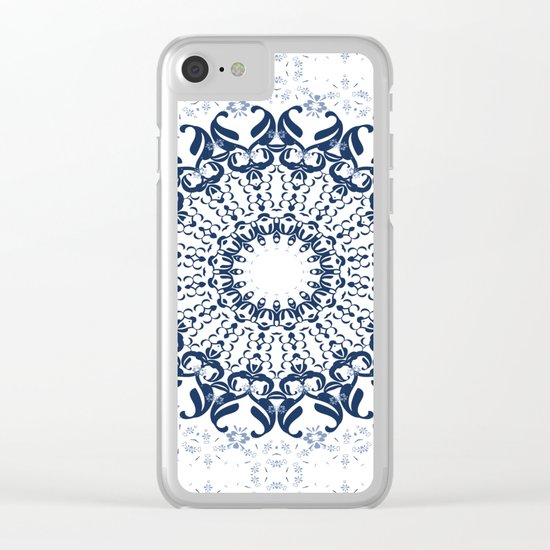 Blue ornament on a white background. Clear iPhone Case