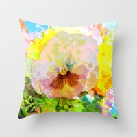 water colour Throw Pillows featuring Artistic Water colour Pansy by thea walstra