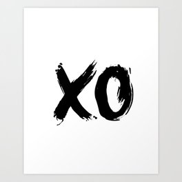 XO Hugs and Kisses black and white xoxo gift for her girlfriend bedroom art and home room wall decor Art Print