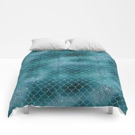 Teal Mermaid Sclaes Comforters