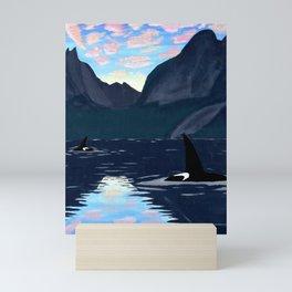 killer whales, lofoten islands Mini Art Print