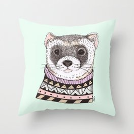 Hipster Ferret Throw Pillow