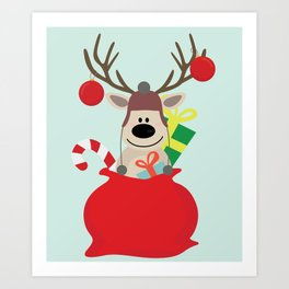 Santa Claus sends you Surprise gift with Mr Reindeer Art Print