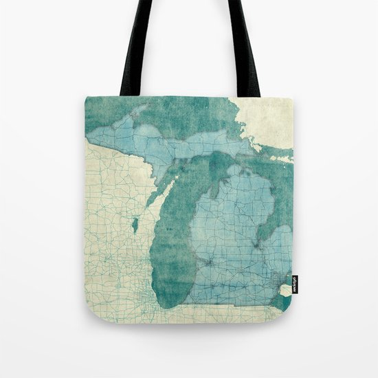 Michigan State Map Blue Vintage Tote Bag