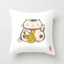 Maneki Neko [Special Lucky Toy Box] Throw Pillow