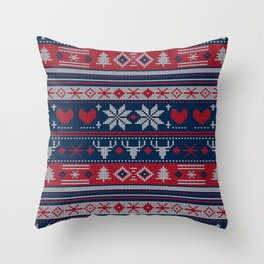 Ugly Christmas Sweater Navy & Red Throw Pillow