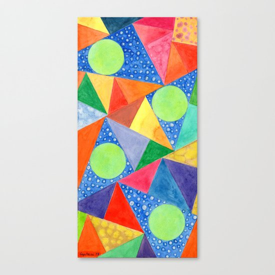 Lime Green Circles within a Cool Triangles Pattern Canvas Print