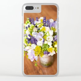 Bridal freesia bouquet wedding flowers Clear iPhone Case