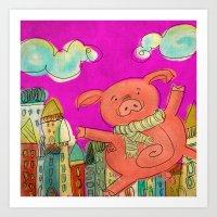 Piggy Pig - magenta Art Print