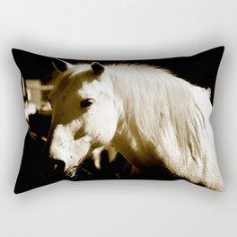 White Horse-Sepia Rectangular Pillow