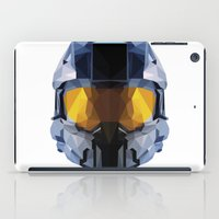 master chief iPad Cases featuring Geometric Master Chief - Halo  by Something a Little Awesome