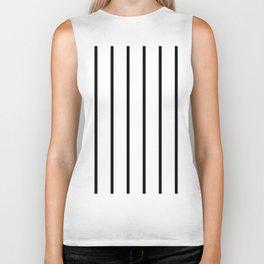 Vertical Lines (Black & White Pattern) Biker Tank