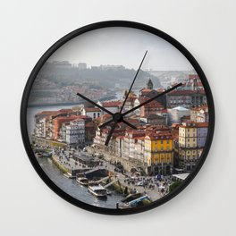 Porto's Cityscape. The Ribeira area alongside the Douro River. Wall Clock