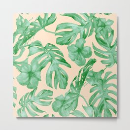 Tropical Coral Green Leaves Flower Pattern Metal Print