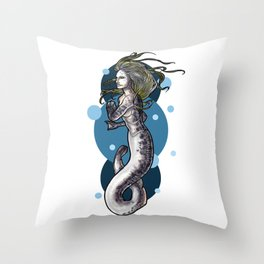 Sea Lamprey Mermaid Throw Pillow