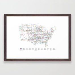 U.S. Numbered Highways as a Subway Map Framed Art Print