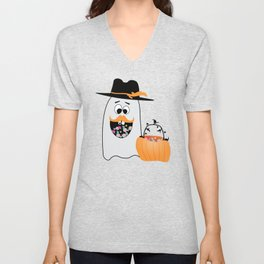 Silly Halloween Ghost Wants Your Candy Unisex V-Neck