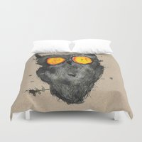 scary Duvet Covers featuring Scary owl by Bwiselizzy