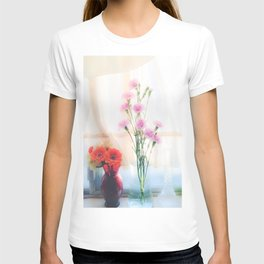 pink flower and orange flower in the vase with curtain background T-shirt