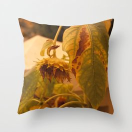 The Sun has Set and tomorrow, God willing, it will rise again [SUNFLOWER] [WILTING] [YELLOW SKY]  Throw Pillow