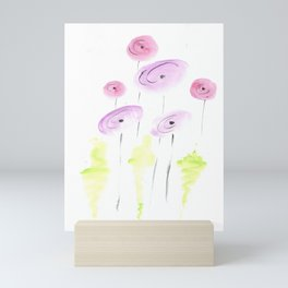 pink and coral poppy flowers Mini Art Print