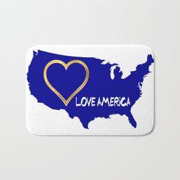 Love America USA Map Silhouette Bath Mat