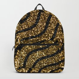 Golden shimmering waves. Abstract glitter luxury background. Glittering star dust trail. Backpack