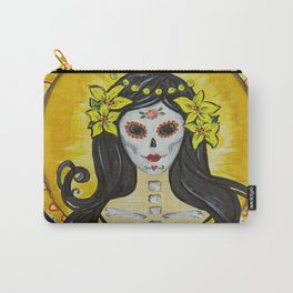 Yellow Lily art nouveau day of the dead sugar skull princess with lilies in her hair Carry-All Pouch