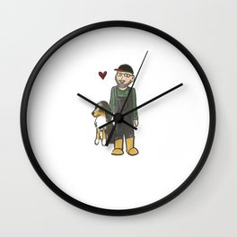 Commission  - He really loves dogs Wall Clock