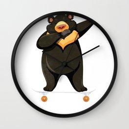 Skateboarding Black Bear on Skateboard Gift for Skater Wall Clock