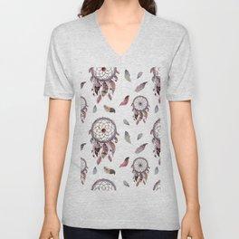 Dreamcatchers and tribal feathers pattern Unisex V-Neck