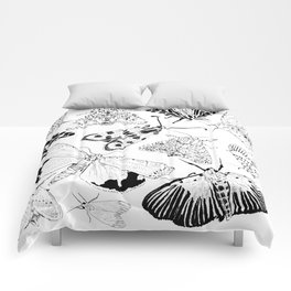 Moth Pattern Black and White Comforters