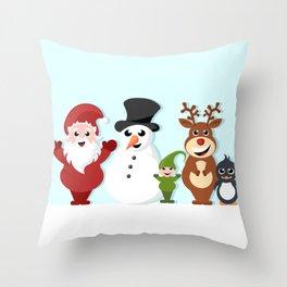 Christmas cartoon characters - Santa Claus, snowman, reindeer, elf and penguin Throw Pillow