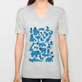 Blue Animals Black Hats Unisex V-Neck