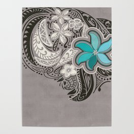 Teal Hawaiian Floral Tattoo Design Poster