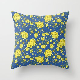 Floral Love of Mustard Throw Pillow
