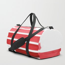 Red Midcentury Modern Minimalist Staggered Stripes Rectangle Geometric Pattern Watercolor Art Simple Duffle Bag