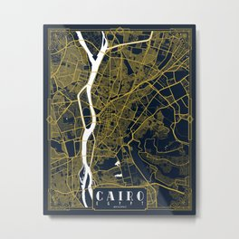 Cairo, Egypt City Map - Gold Art Deco Metal Print