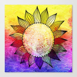 Rainbow Sun Design Canvas Print