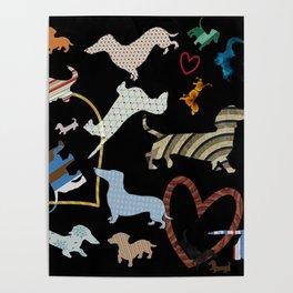 dachshund dog. love. pattern Poster