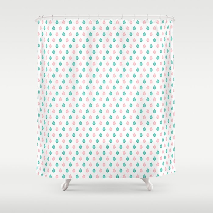 Teal Blue And Coral Pink Raindrops Shower Curtain