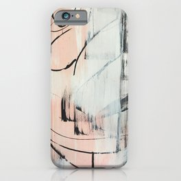 Sweet Tart: a minimal abstract mixed-media piece in pink black and white by Alyssa Hamilton Art iPhone Case