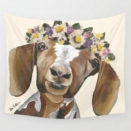 Goat Art, Flower Crown Goat Wall Tapestry